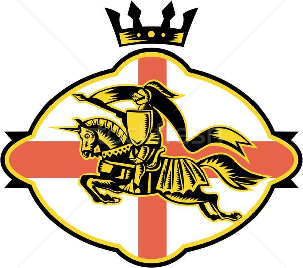 English Knight Riding Horse Lance Retro Stock photo © patrimonio