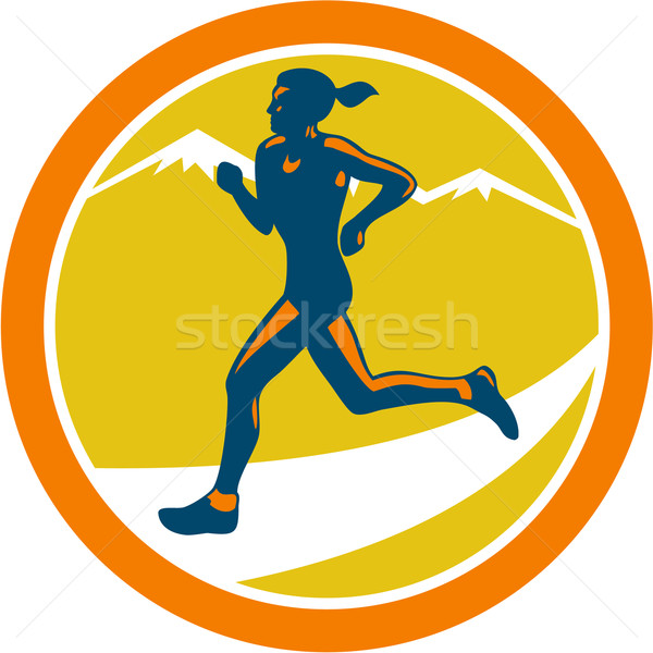 Female Triathlete Runner Running Retro Stock photo © patrimonio