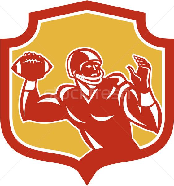 American Football Quarterback Shield Retro Stock photo © patrimonio