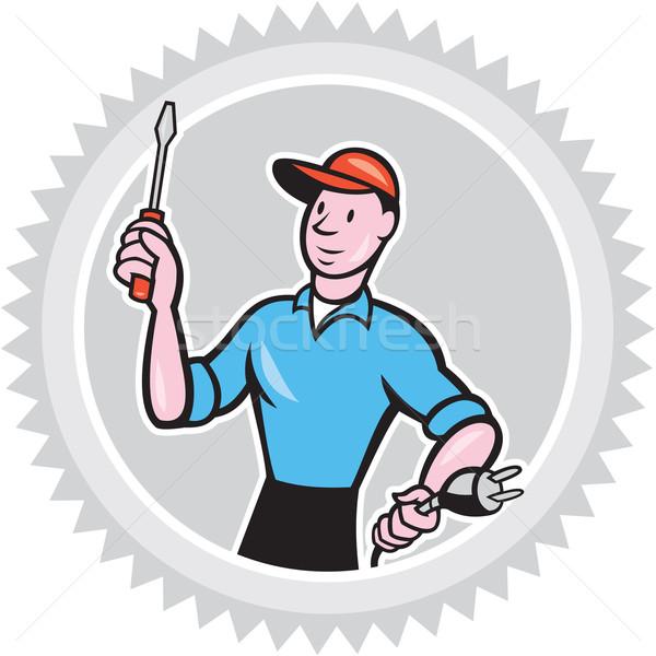 Elettricista cacciavite plug cartoon illustrazione lavoratore Foto d'archivio © patrimonio