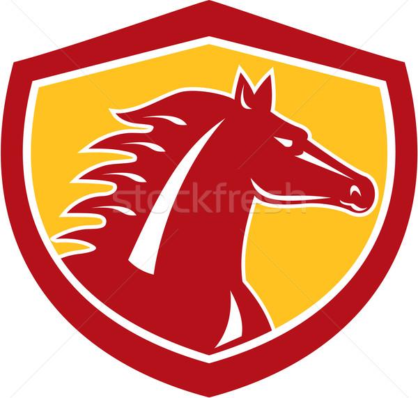 Horse Head Angry Shield Retro Stock photo © patrimonio