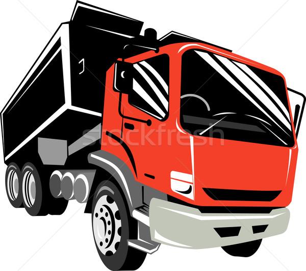 Red dump truck front view Stock photo © patrimonio