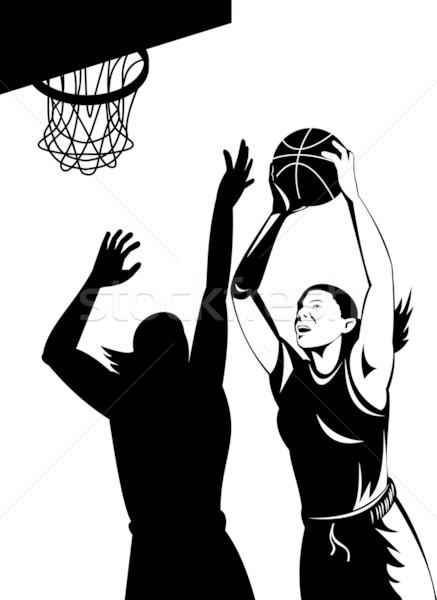 Female basketball players shoot and block retro style Stock photo © patrimonio