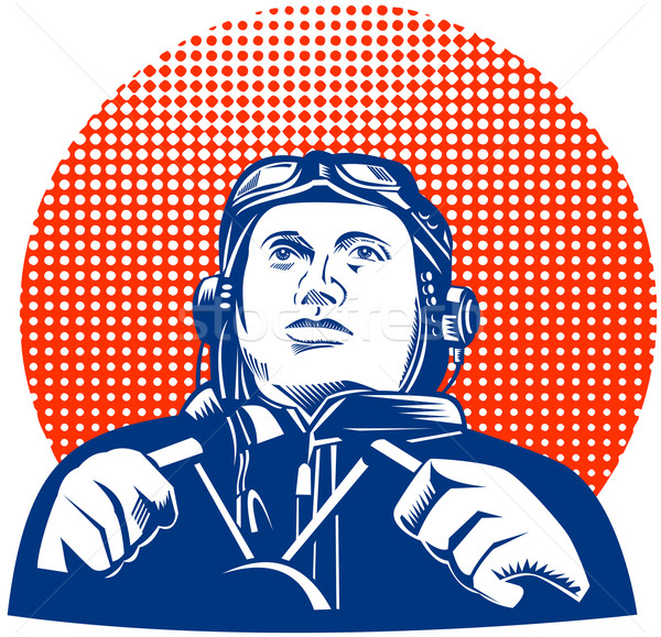 World War II pilot looking up Stock photo © patrimonio