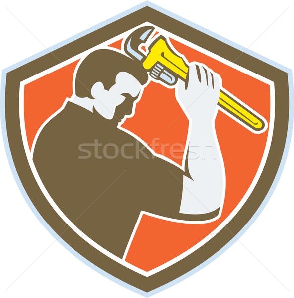 Plumber Holding Monkey Wrench Crest Retro Stock photo © patrimonio