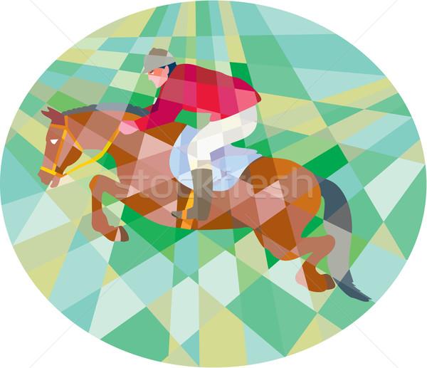 Stock fotó: Lovas · előadás · ugrik · ovális · alacsony · poligon