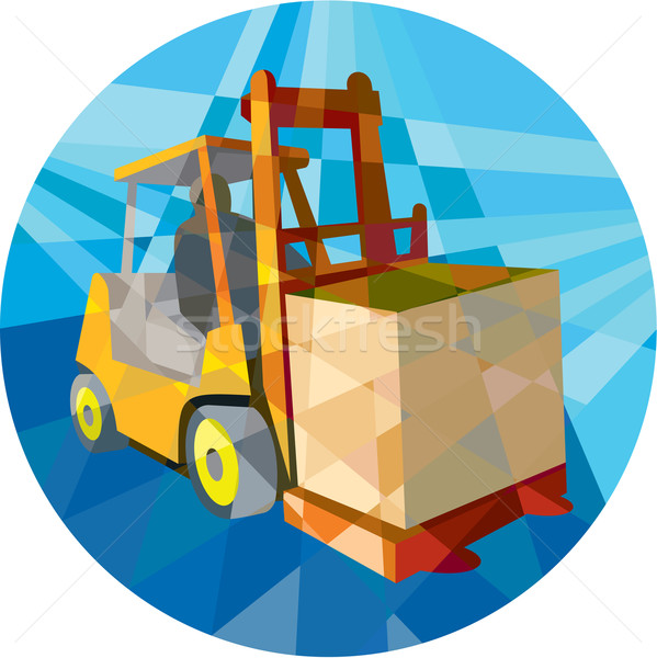 Forklift Truck Materials Box Circle Low Polygon Stock photo © patrimonio