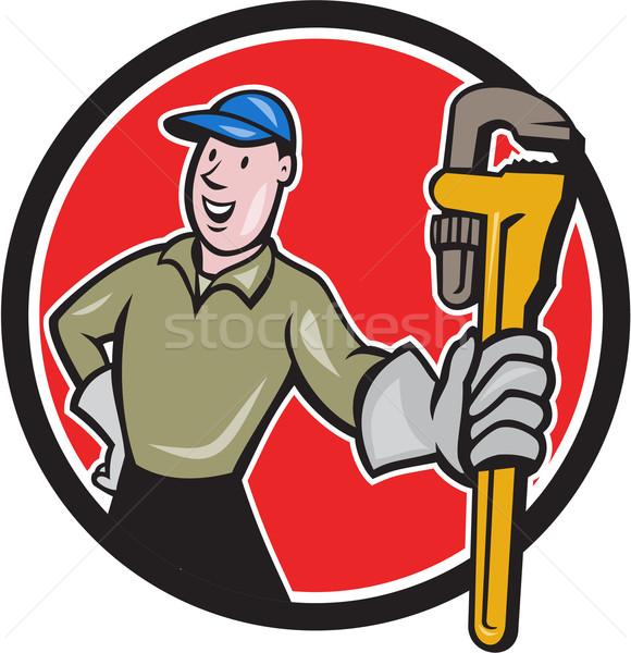 Plumber Presenting Monkey Wrench Circle Cartoon Stock photo © patrimonio