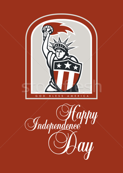 Independence Day Greeting Card-Statue of Liberty With Flaming Torch Shield Stock photo © patrimonio