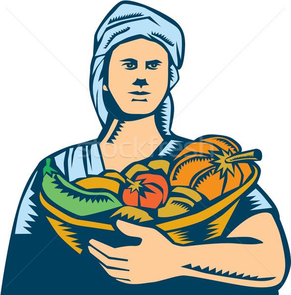 Dame organique agriculteur produire récolte illustration Photo stock © patrimonio