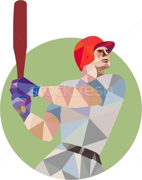 Baseball Batter Batting Circle Low Polygon Stock photo © patrimonio