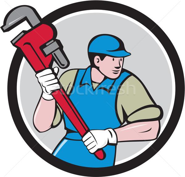 Plumber Running Monkey Wrench Circle Cartoon Stock photo © patrimonio
