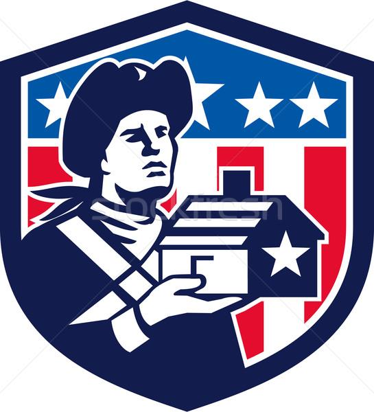 Amerykański patriota domu banderą grzebień Zdjęcia stock © patrimonio