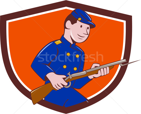 Union Army Soldier Bayonet Rifle Crest Cartoon Stock photo © patrimonio