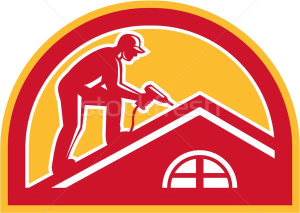Roofer Working on Roof Half Circle Retro Stock photo © patrimonio