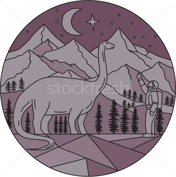 Astronaut Brontosaurus Mountain Moon Circle Mono Line Stock photo © patrimonio