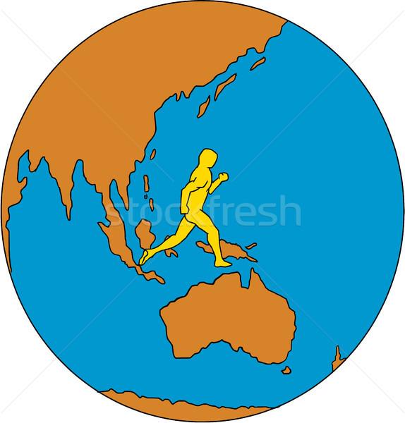 Marathon Runner Running Around World Asia Pacific Drawing Stock photo © patrimonio
