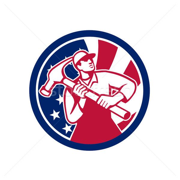 American Handyman USA Flag Icon Stock photo © patrimonio