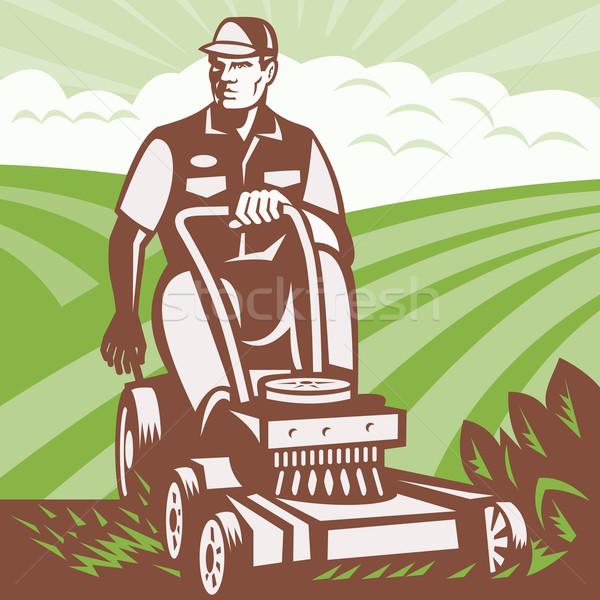 Gardener Landscaper Riding Lawn Mower Retro Stock photo © patrimonio
