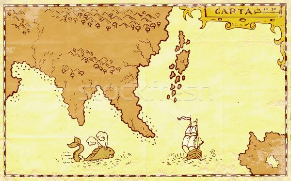 Vintage карта сокровище острове высокий судно Сток-фото © patrimonio
