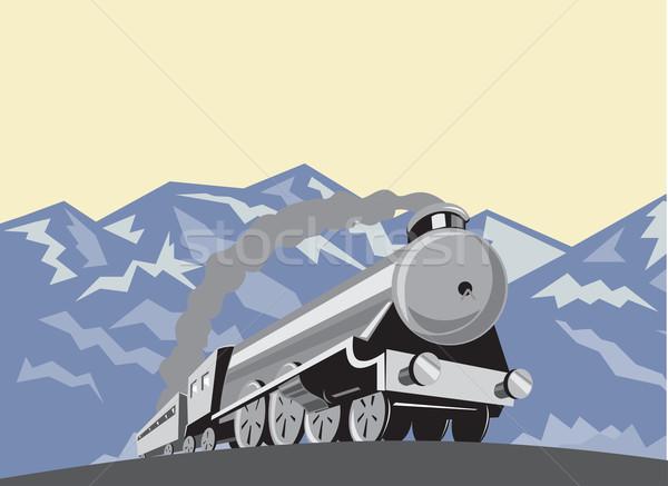 Stoom trein locomotief bergen retro illustratie Stockfoto © patrimonio