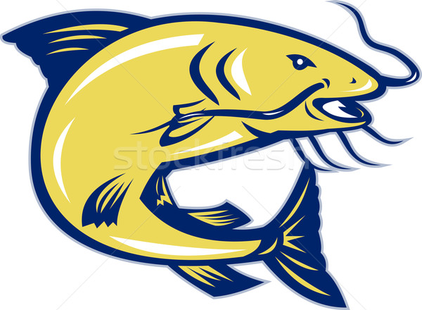 Catfish Jumping Retro Stock photo © patrimonio