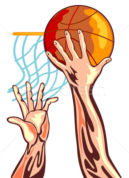 Kosárlabda kezek retro illusztráció játékosok kéz Stock fotó © patrimonio