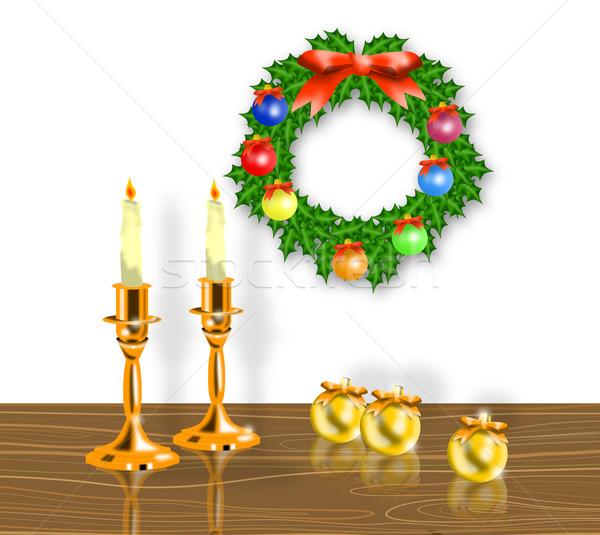 Christmas Candle Wreath Balls Stock photo © patrimonio