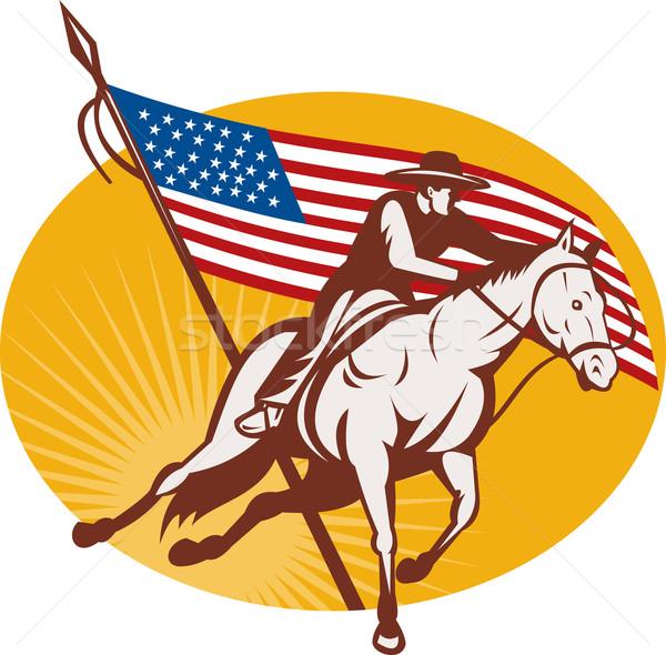 ロデオ カウボーイ 乗馬 実例 アメリカン 星 ストックフォト © patrimonio