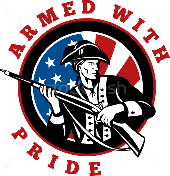 American revolutionary soldier with rifle flag Stock photo © patrimonio