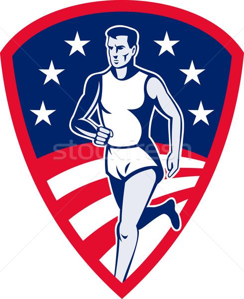 American Marathon athlete sports runner shield Stock photo © patrimonio