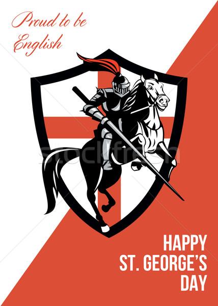 Trots Engels gelukkig dag retro poster Stockfoto © patrimonio