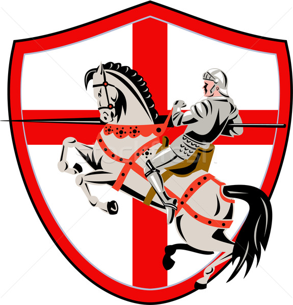 English Knight Rider Horse England Flag Retro Stock photo © patrimonio