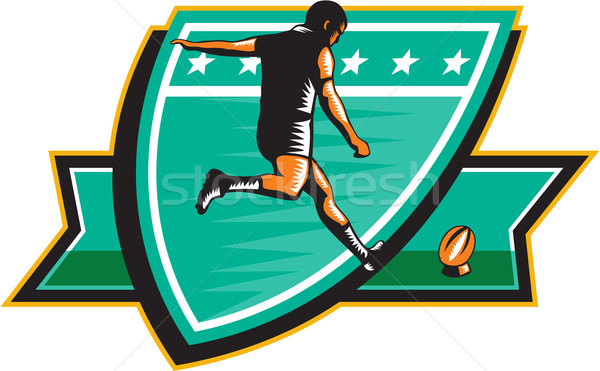 Rugby Player Kicking Ball Shield Retro Stock photo © patrimonio