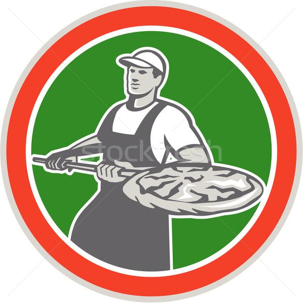 Baker Holding Peel With Pizza Circle Retro Stock photo © patrimonio
