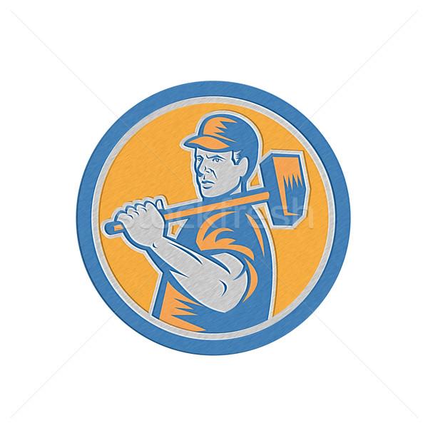 Metallic Union Worker Holding Sledgehammer Circle Retro Stock photo © patrimonio