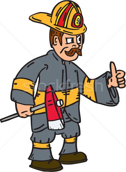 Fireman Firefighter Axe Thumbs Up Cartoon Stock photo © patrimonio