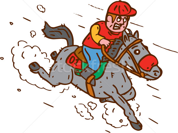 Jockey Horse Racing Cartoon Stock photo © patrimonio