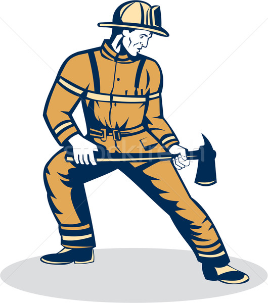 Fireman Firefighter Standing Holding Fire Axe  Stock photo © patrimonio