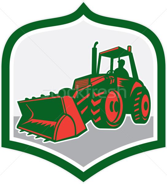 Mechanical Digger Excavator Shield Retro Stock photo © patrimonio