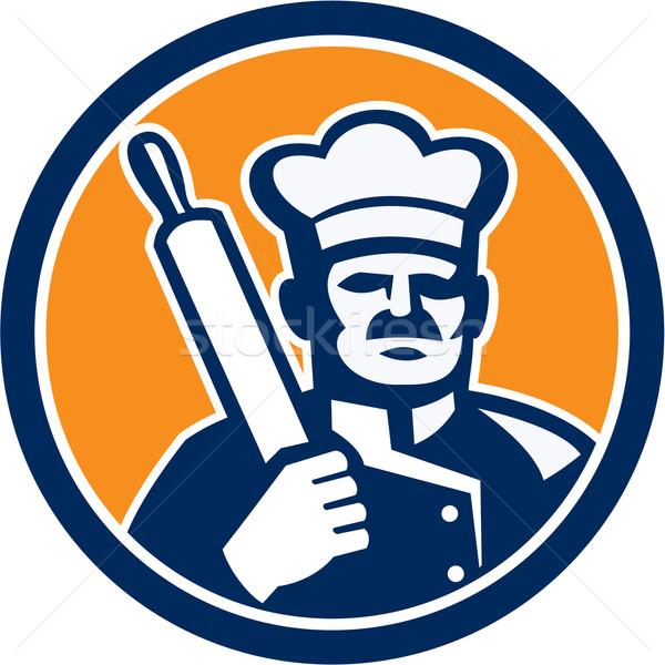 パン シェフ 調理 麺棒 サークル レトロな ストックフォト © patrimonio