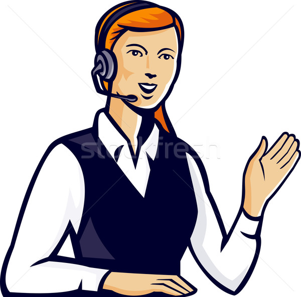 Telemarketer Call Center Operator Retro Stock photo © patrimonio