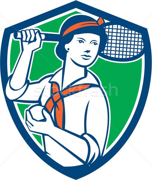 Female Tennis Player Racquet Vintage Shield Retro Stock photo © patrimonio