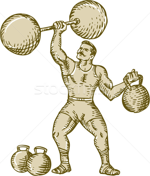 Strongman Lifting Barbell Kettlebell Etching Stock photo © patrimonio