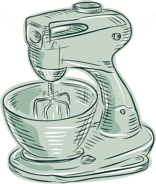 Kitchen Mixer Vintage Etching Stock photo © patrimonio
