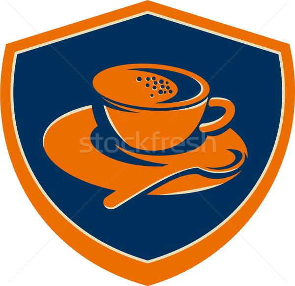 Koffiekopje theelepeltje kuif retro illustratie ingesteld Stockfoto © patrimonio