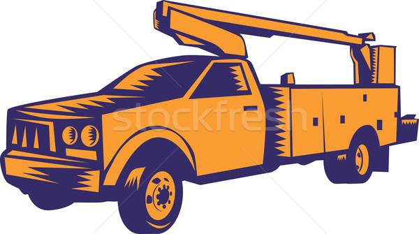 Cherry Picker Mobile Lift Truck Woodcut Stock photo © patrimonio