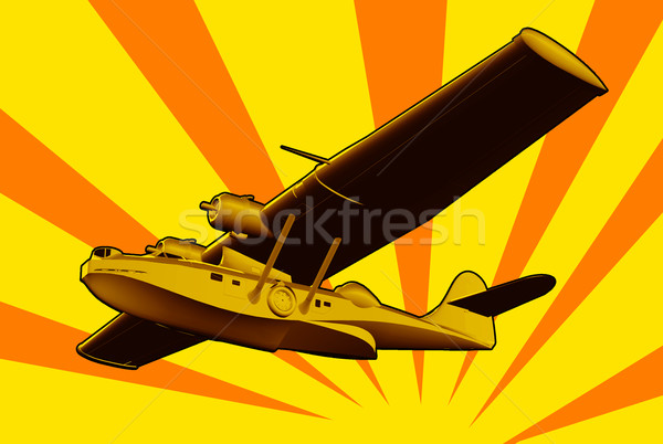 Unter Boot Meer Flugzeug Retro Illustration Stock foto © patrimonio