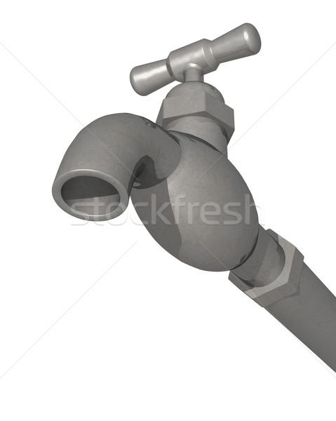 Víz vízcsap csap 3d render alulról fotózva izolált Stock fotó © patrimonio