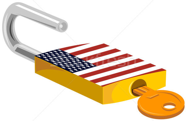 Padlock and Key American Flag Design Stock photo © patrimonio